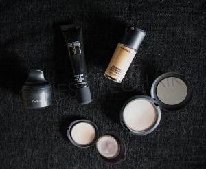 L to R- MAC Mineralize Loose Foundation, MAC BB Cream, MAC Prolongwear Foundation, MAC Studio Fix Plus Powder Foundation, Avon Pressed Powder.