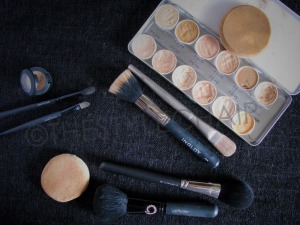 Clockwise- MAC Studio Finish Concealer with Oriflame Concealer Brushes; Kryolan Supra Palette, Sponge, Kryolan Foundation Brush, Inglot Stipling Brush; Powder brushes  Oriflame & MAC 150; Powder Puff