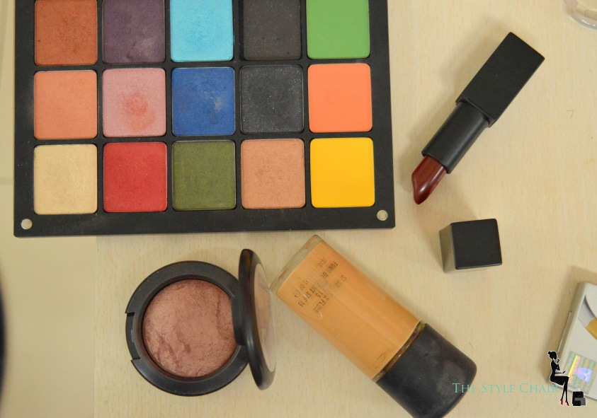 L to R- Inglot customised Eyeshadow palette, NARS Charolette Lipstick, MAC Studio Fix Foundation & MAC Blush.
