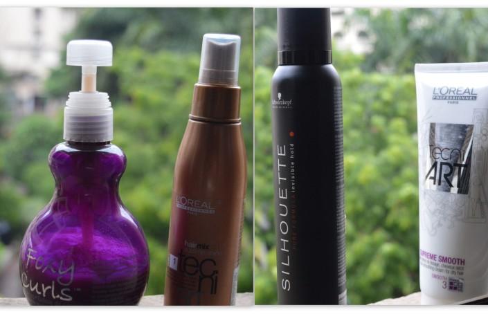 L to R- Foxy Curls (TiGi), Sublime Shine (L'oreal), Silhouette (Shwarzkopf), Supreme Smooth (L'oreal)